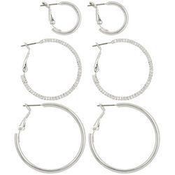 Bay Studio 3-pc. Clutchless Hoop Earring Set