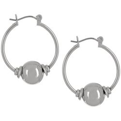 Bay Studio Silver Tone Ball Hoop Earrings