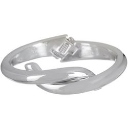 Bay Studio Silver Tone Knot Hinged Cuff Bracelet
