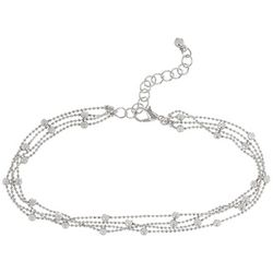 Bay Studio 3 Row Bead Chain Silver Tone Anklet