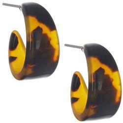 Bay Studio 20MM Tortoise Resin Small Hoop Earrings