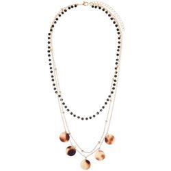 Bay Studio 3 Rw Black Bead & Disc Layered Necklace