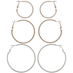 Bay Studio Tri-Tone Trio Textured Hoop Earring Set