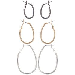 Bay Studio Tri-Tone Trio Oval Hoop Earring Set