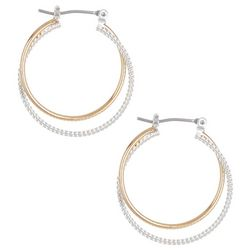 Bay Studio Two Tone Texture Double Hoop Earrings