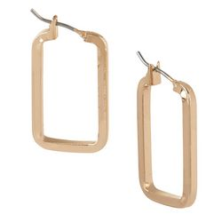 Bay Studio Gold Tone Rectangle Hoop Earrings