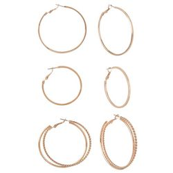 Bay Studio Trio Rose Tone Hoop Earring Set
