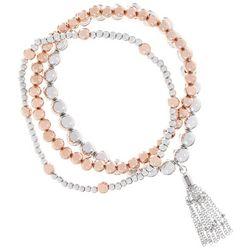 Bay Studio 3 Pc Rose & Silver Tone Beaded Bracelet