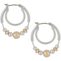 Bay Studio 24mm Two Tone Bead Hoop Earrings
