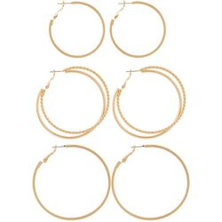 Bay Studio 3-pc. Gold Tone Hoop Earring Set