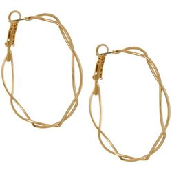 Bay Studio Gold Tone Double Row Twist Hoop Earrings