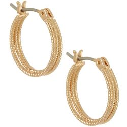 Bay Studio Gold Tone 3 Row Textured Hoop Earrings