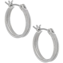Bay Studio Silver Tone 12mm Textured Hoop Earrings