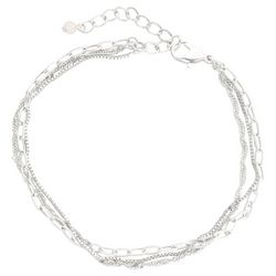 Bay Studio Silver Tone 3 Row Oval Chain Anklet