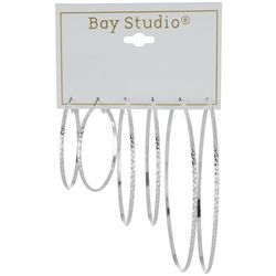 Bay Studio 3-pc. Silver Tone Texture Hoop Earring Set