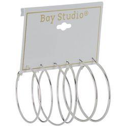 Bay Studio 3-pc. Silver Tone Thin Hoop Earring Set