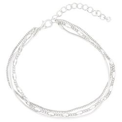 Bay Studio Silver Tone 3 Row Oval Box & Snake Chain Anklet