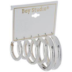 Bay Studio 3-pc. Silver Tone Puff Hoop Earring Set