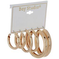 Bay Studio 3-pc. Gold Tone Puff Hoop Earring Set
