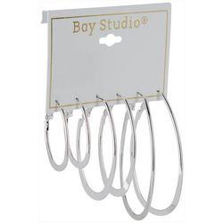 Bay Studio 3-pc. Silver Tone Flat Oval Hoop Earring Set