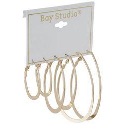 Bay Studio 3-pc. Gold Tone Flat Oval Hoop Earring Set