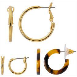 Bay Studio 3-pc. Gold Tone Tortoise Hoop Earring Set