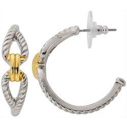 Bay Studio Two Tone Rope Knot C-Hoop Earrings