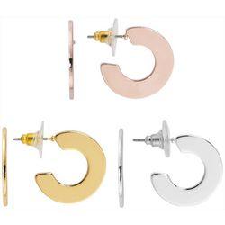 Bay Studio 3-pc. Three Tone Thin C-Hoop Earring Set