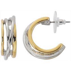 Bay Studio Two Tone Multi Row C-Hoop Earrings