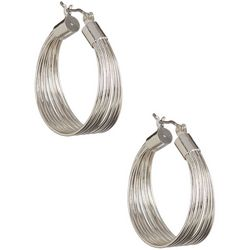 Bay Studio Silver Tone Multi Wire Hoop Earrings