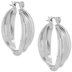 Bay Studio Silver Tone Triple Row Polished Hoop Earrings