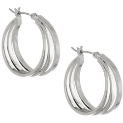 Bay Studio 3 Row Square Edge Silver Tone Hoop Earrings