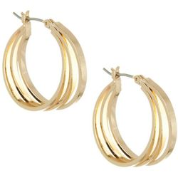 Bay Studio 3 Row Square Edge Gold Tone Hoop Earrings