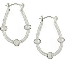 Bay Studio Bead & Textured Oval Hoop Earrings