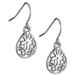 Filigree Teardrop Silver Tone Earrings