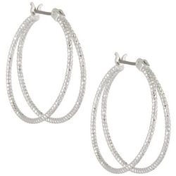 Bay Studio 2 Row Textured Hoop Earrings