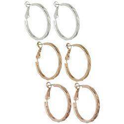 3-pc. Tri Tone Hoop Earring Set