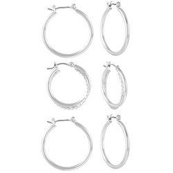 Bay Studio Silver Tone Triple Hoop Earring Set