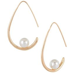 Bay Studio Faux Pearl Gold Tone Wire Hoop Earrings