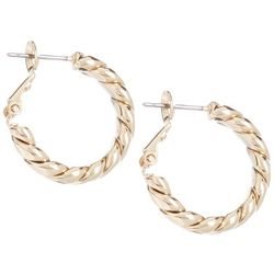 Twist Texture Gold Tone Hoop Earrings