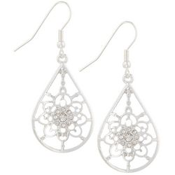 Bay Studio Rhinestone Flower Teardrop Earrings
