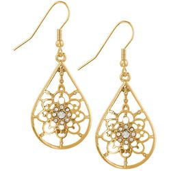 Bay Studio Gold Tone Rhinestone Teardrop Earrings
