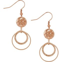 Rose Gold Tone Hammered Disc Ring Earrings