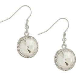 Bay Studio Clear Glass Round Halo Drop Earrings