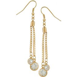 Bay Studio Gold Tone Box Chain Glass Crystal Drop Earrings