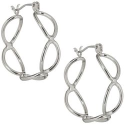 Bay Studio Silver Tone Oval Link Hoop Earrings