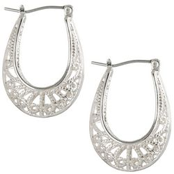 Bay Studio Silver Tone Filigree Hoop Earrings
