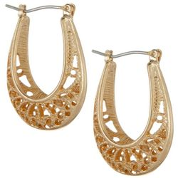 Bay Studio Gold Tone Filigree Hoop Earrings
