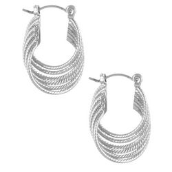 Bay Studio 6 Row Twist Silver Tone Hoop Earrings