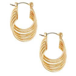 Bay Studio 6 Row Twist Gold Tone Hoop Earrings